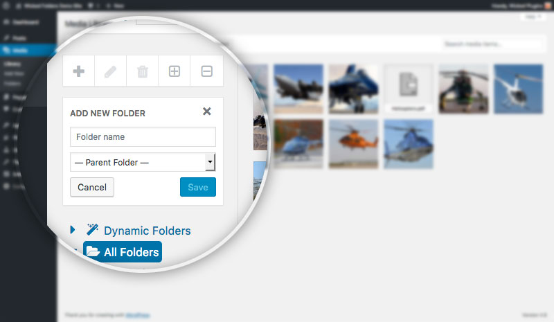 Screenshot showing folder pane in media library with Wicked Folders Pro