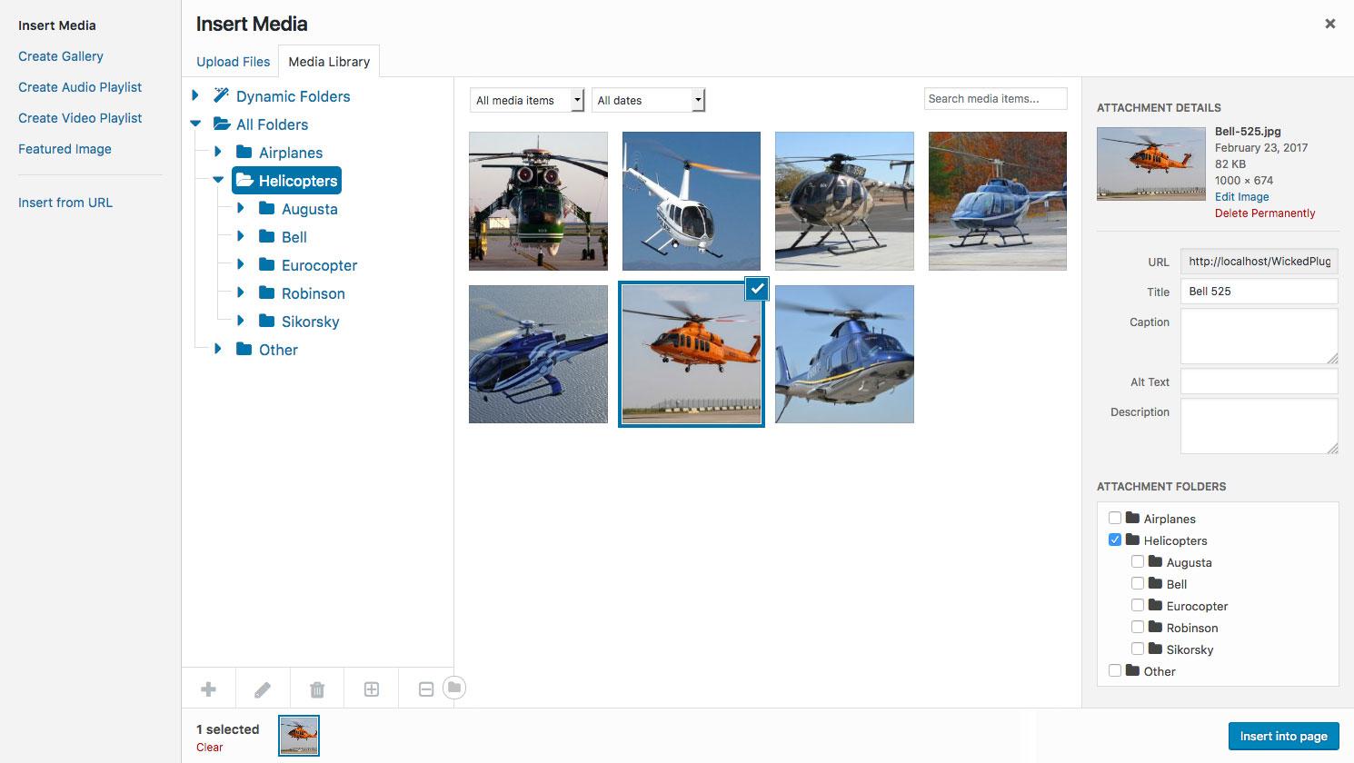 Screenshot showing WordPress media modal with folders
