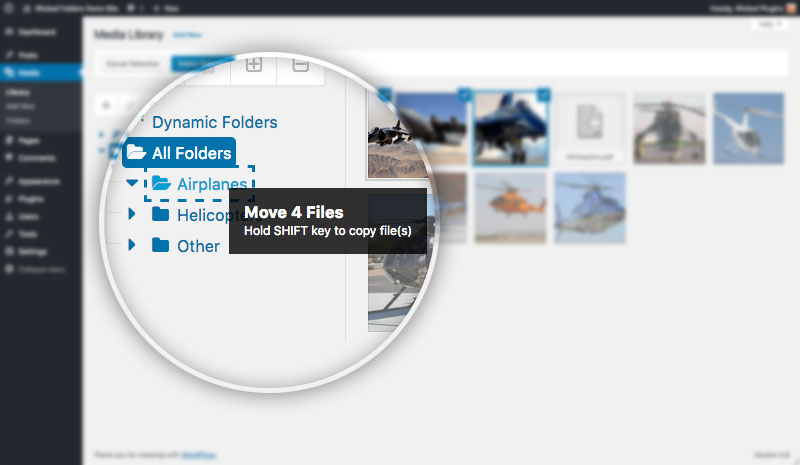 Screenshot showing media files being dragged into folder