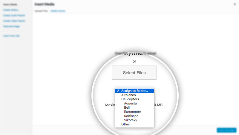Screenshot showing folder dropdown on media upload screen